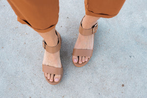 Tan Platform Sandal - Sweetly Striped