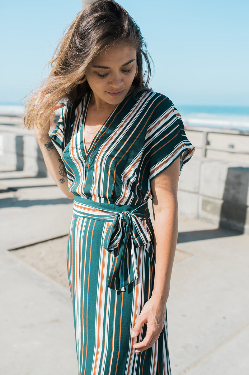 Green Striped Dress - Sweetly Striped