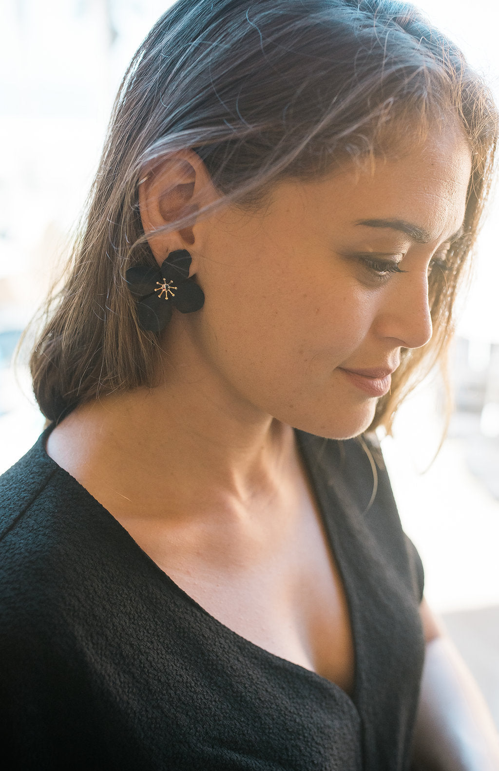 Flower Studs - Black - Sweetly Striped