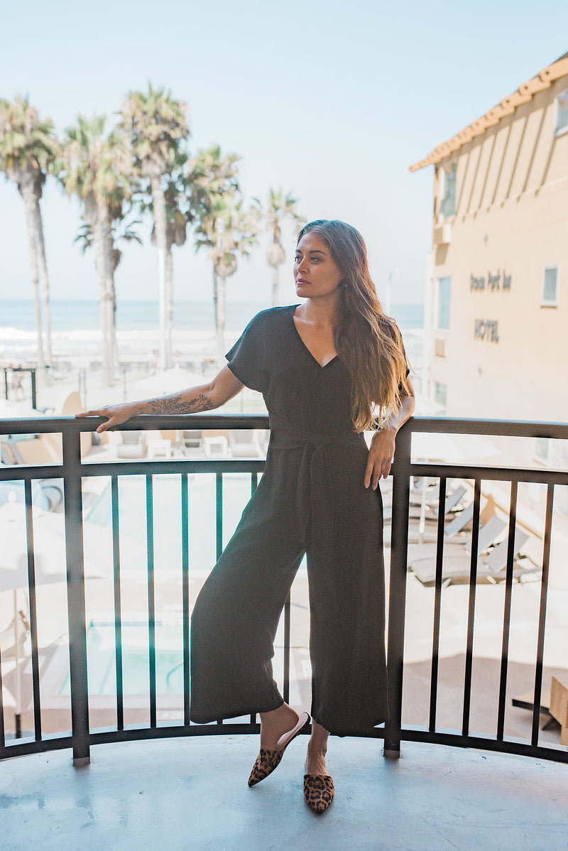 Black Tie Jumpsuit - Sweetly Striped