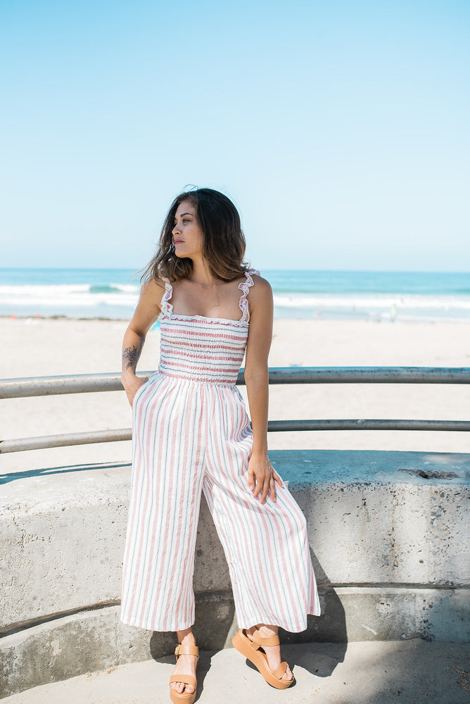 Striped Palazzo Jumpsuit - Sweetly Striped