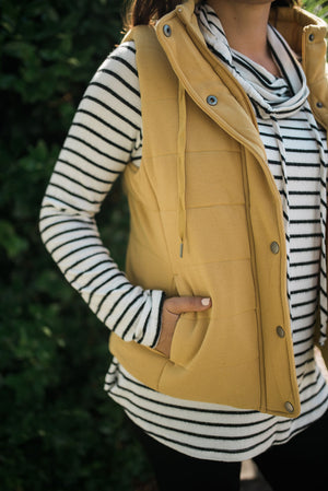 Mustard Yellow Puffy Vest - Sweetly Striped