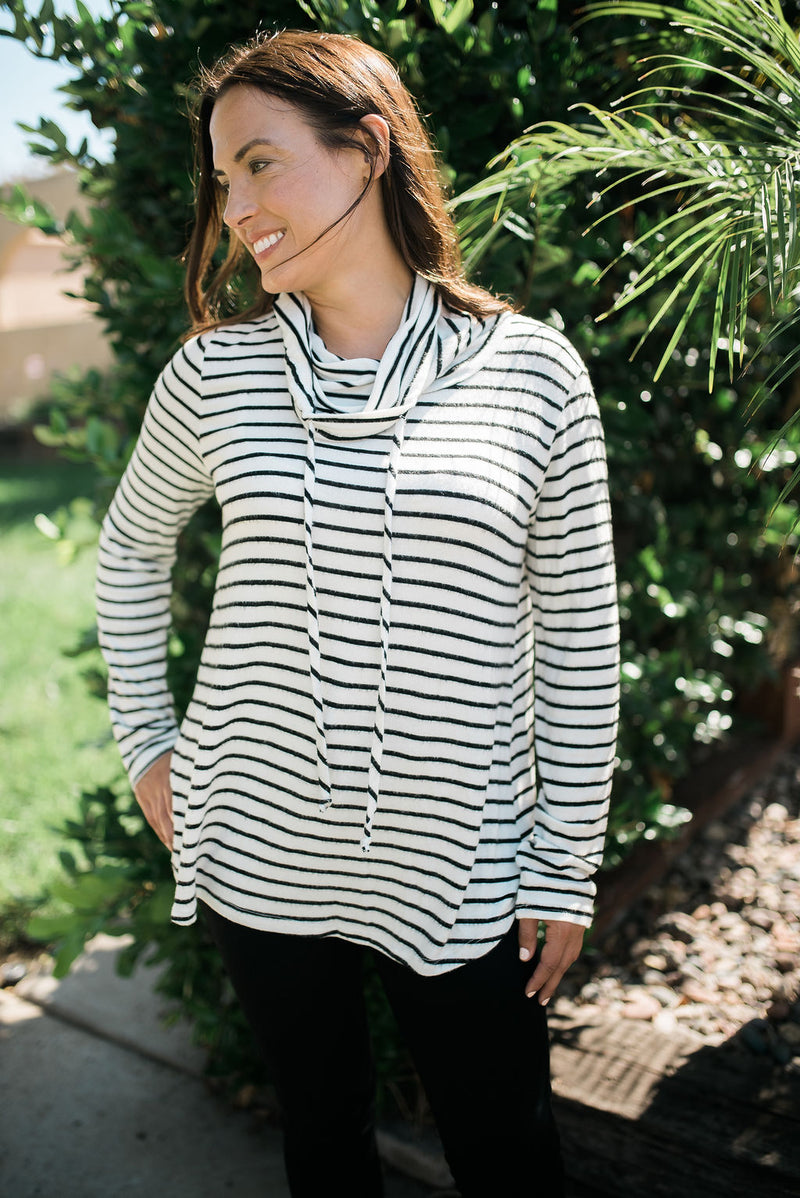 Striped Cowl Neck Top - Sweetly Striped