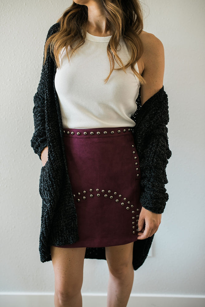 Suede Studded Skirt