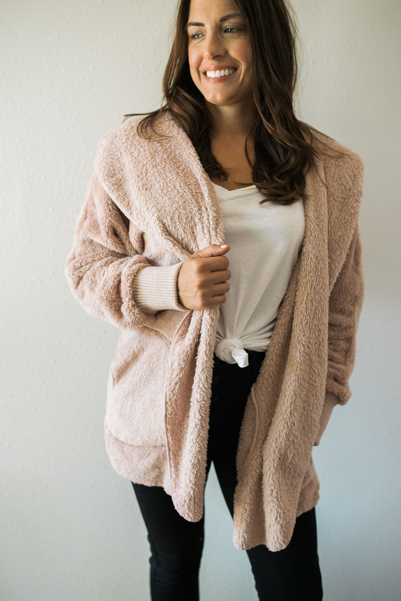 Plush Sweater Jacket - Sweetly Striped