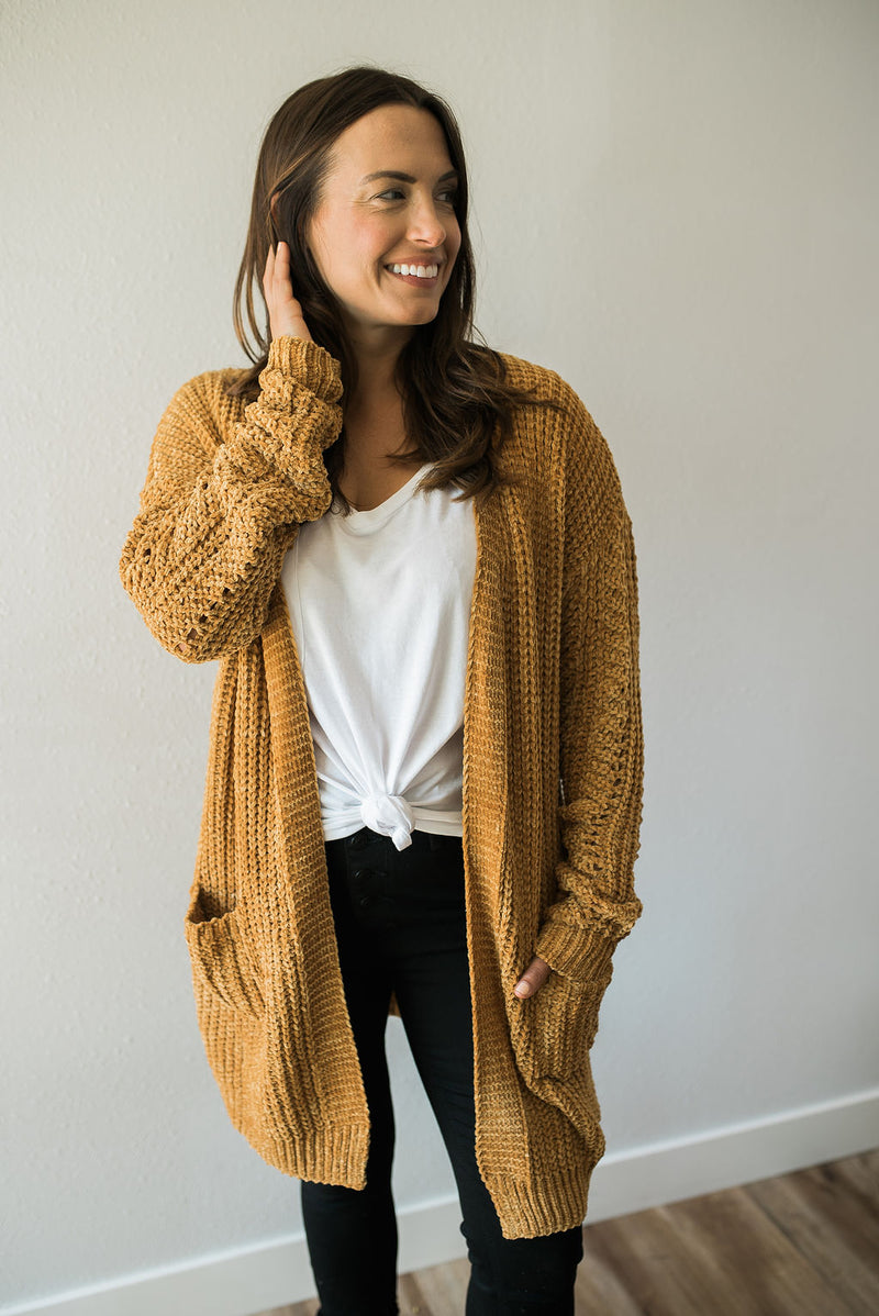 Cozy Mustard Cardigan - Sweetly Striped
