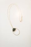 Long Beaded Tear Drop Necklace - Black / Gold - Sweetly Striped