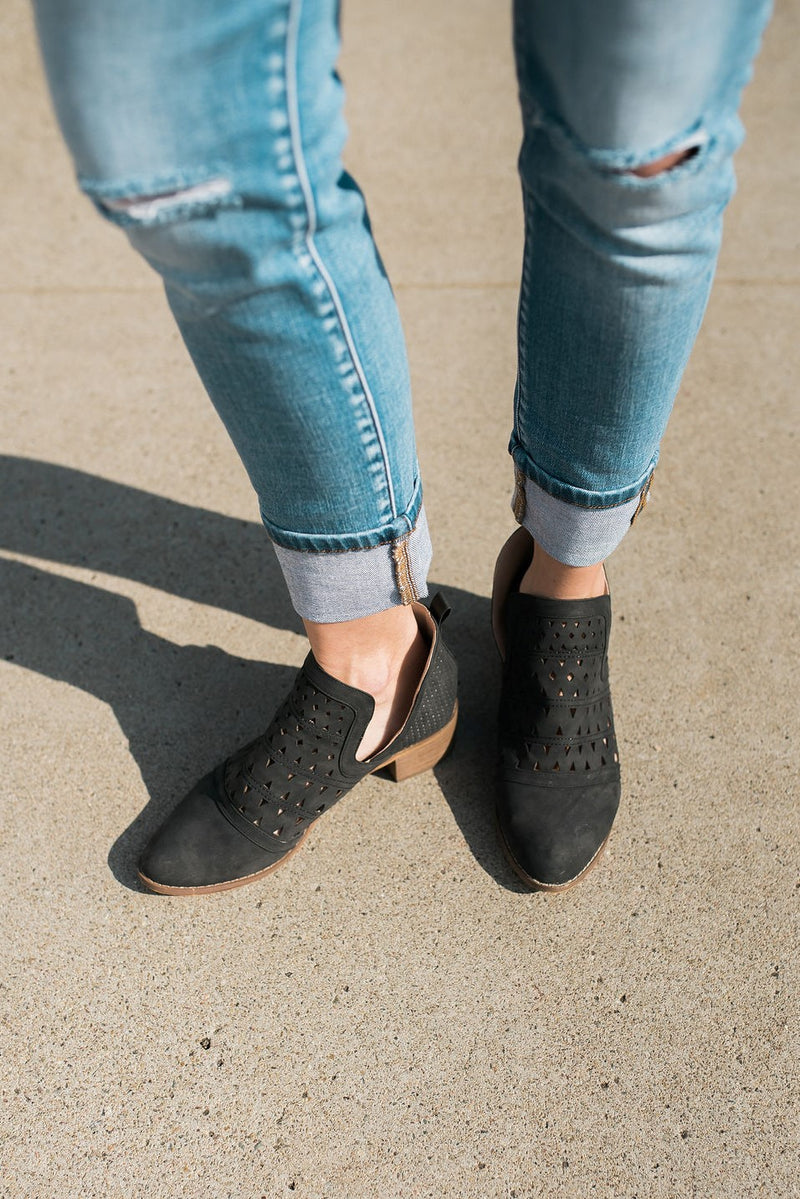Black Low Cutout Booties