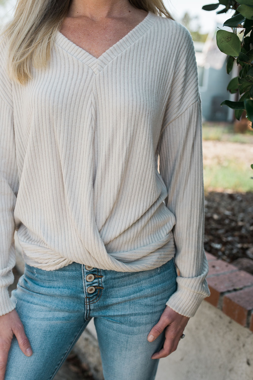 Ribbed Twist Front Top - Oatmeal - Sweetly Striped