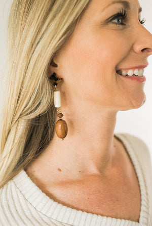 Wood Oval Drop Earrings