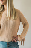 Blushing Tie Sleeve Sweater - Sweetly Striped