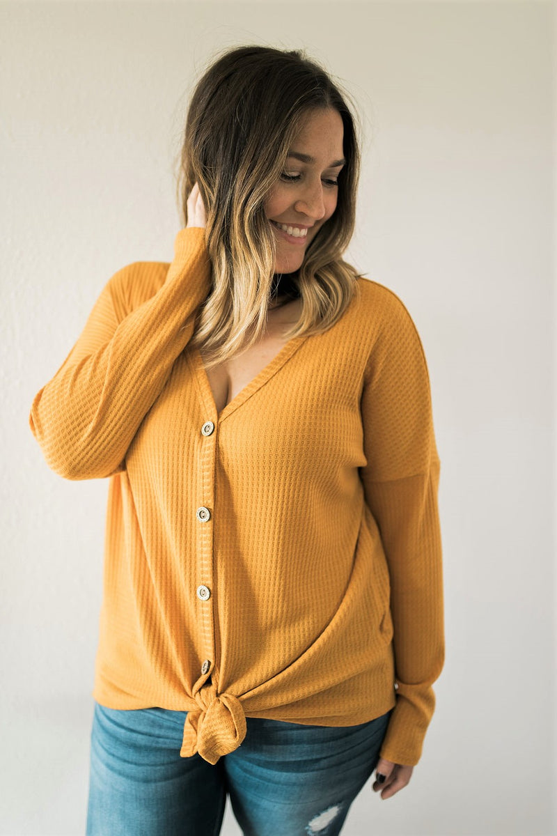 Mustard Button Up Tie Top - Sweetly Striped