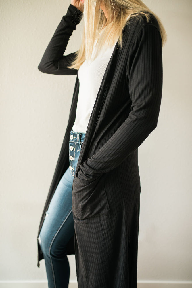 Ribbed Duster Cardigan - Sweetly Striped