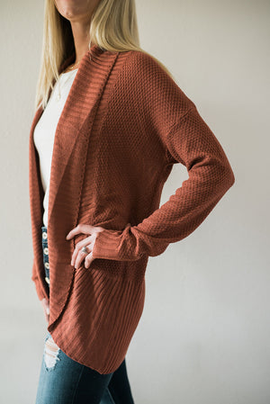 Not So Basic Open Front Cardigan - Brick - Sweetly Striped