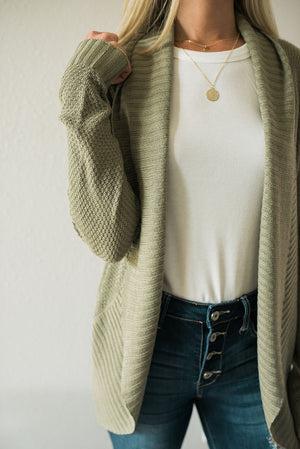 Not So Basic Open Front Cardigan - Sage - Sweetly Striped