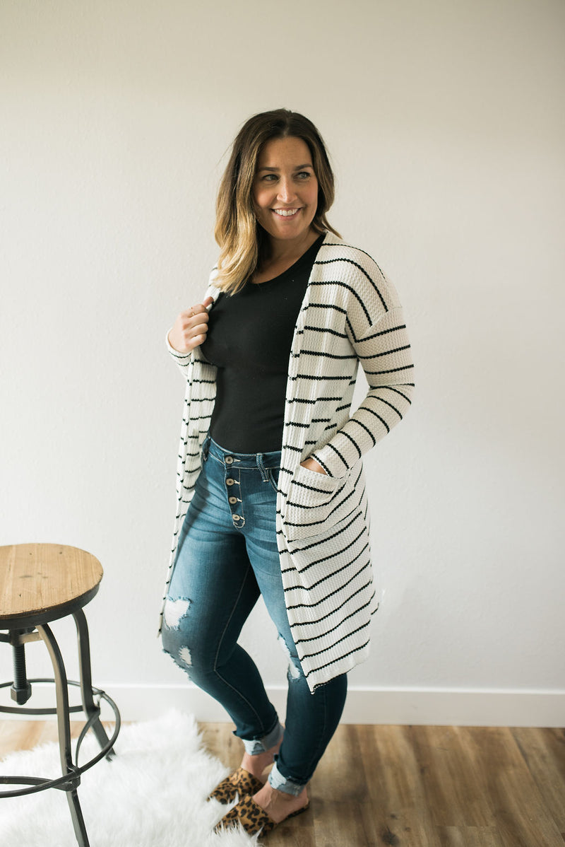 Chic Striped Duster Cardigan - Sweetly Striped