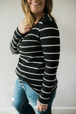 Thermal Waffle Knit Top - Sweetly Striped
