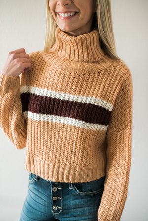 Striped Cropped Turtleneck - Sweetly Striped