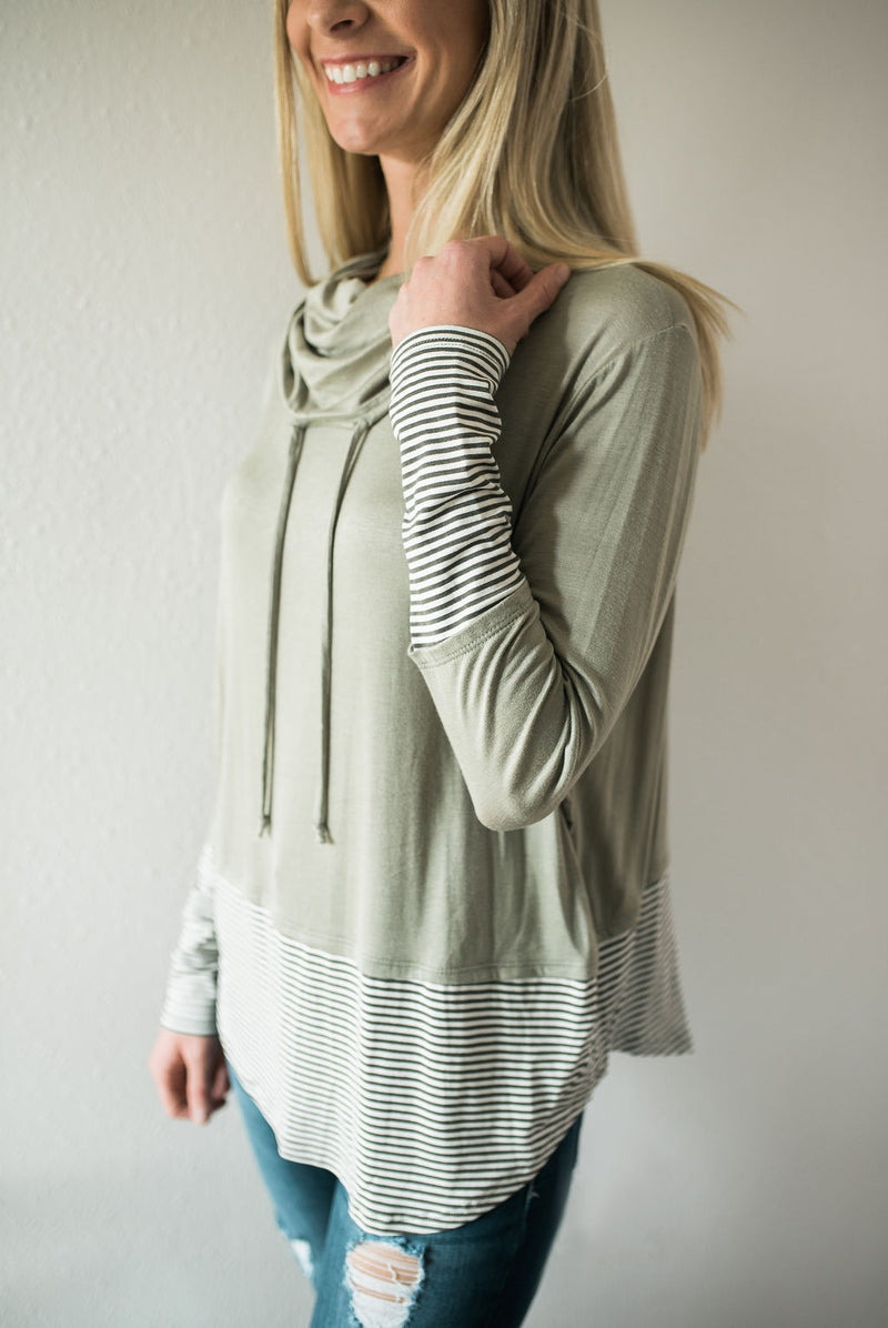Casual Olive Cowl Neck Top - Sweetly Striped