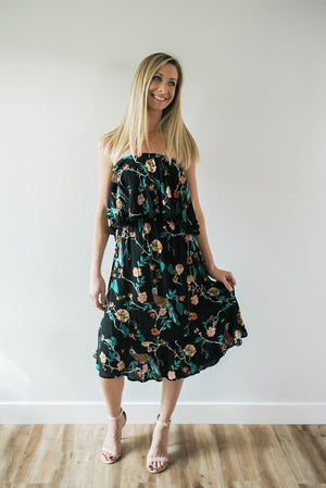 Strapless Floral Midi Dress - Sweetly Striped