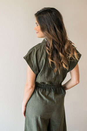 Chic Olive Jumpsuit - Sweetly Striped