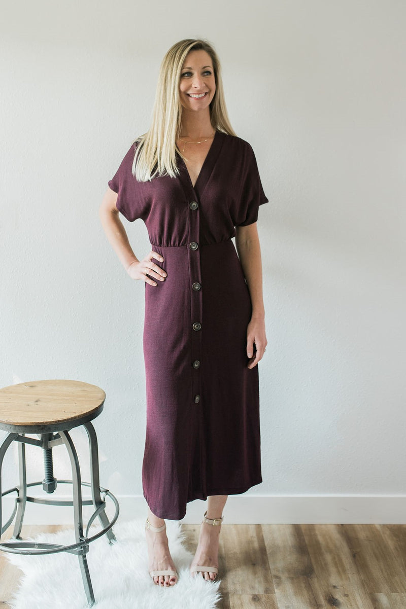 Wine Me Button Down Midi Dress