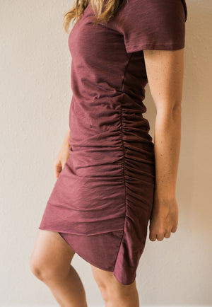 Wine Cotton Ruched Shirt Dress - Sweetly Striped