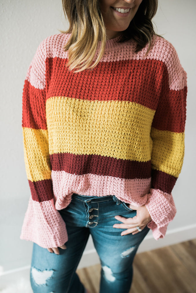 Boho Color Block Sweater - Pink