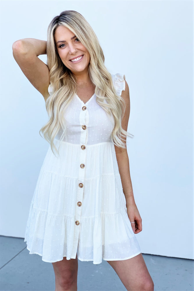 Ivory Button Tiered Babydoll Dress - Sweetly Striped