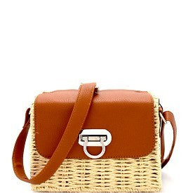 Hamptons Straw Crossbody - Sweetly Striped