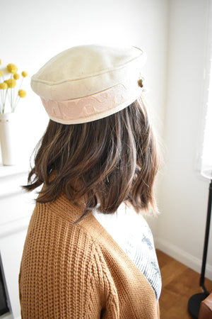 Cream Wool Conductor Hat - Sweetly Striped