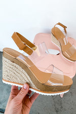 Clear Strap Slingback Wedge