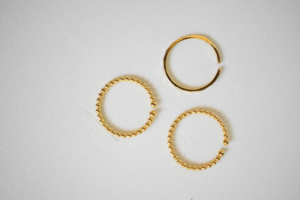 Gold Textured Ring Set - Sweetly Striped