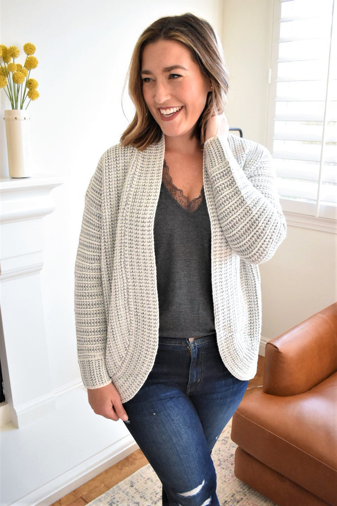 Grey Two Tone Cardigan