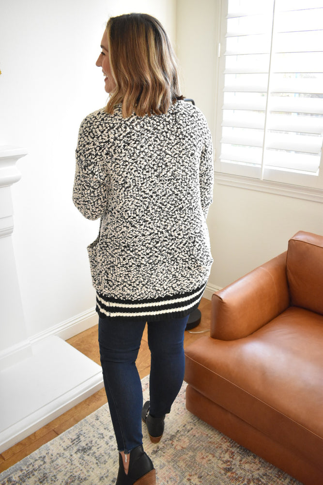 Black and Cream Popcorn Cardigan