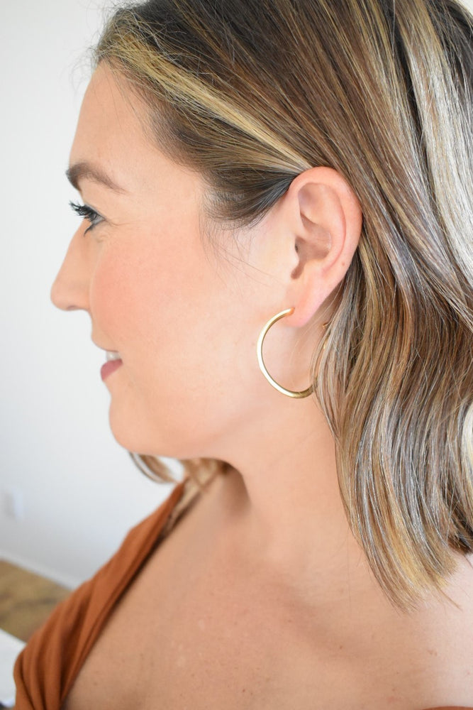 Gold Curvy Hoops - Sweetly Striped