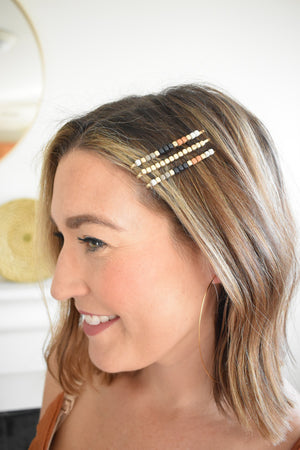 Autumn Color Block Hair Pins - Sweetly Striped