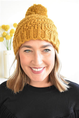 Mustard Pom Pom Beanie - Sweetly Striped