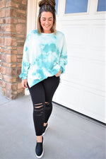 Relaxed Tie Dye Sweatshirt - Turquoise Blue - Sweetly Striped