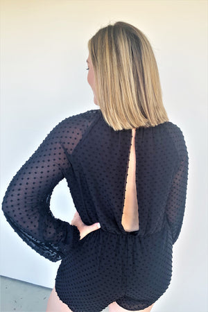 Black Blouse Textured Romper