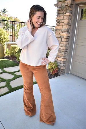 Corduroy Pull On Flares - Sweetly Striped