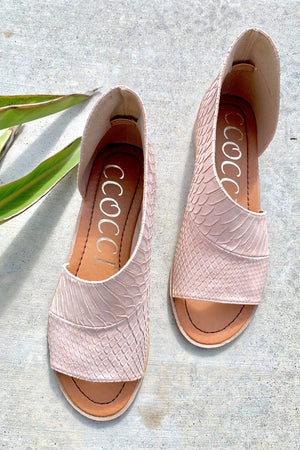Adele Cutout Flats - Pink Snakeskin - Sweetly Striped