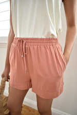 Papaya Drawstring Shorts - Sweetly Striped