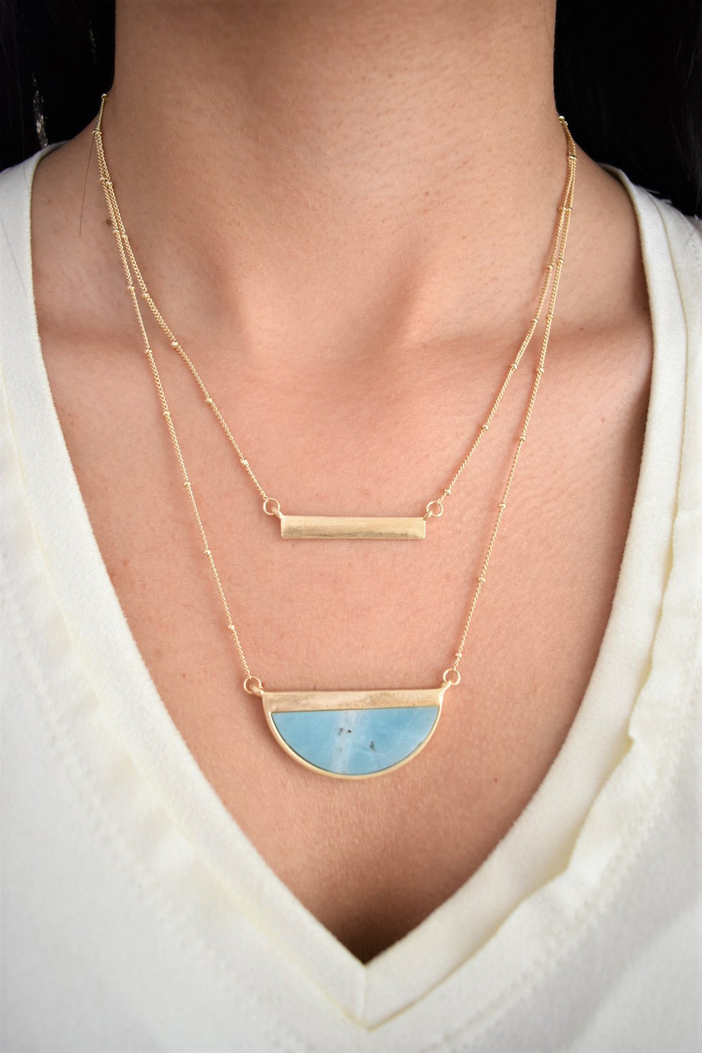 Layered Half Moon Necklace - Sweetly Striped
