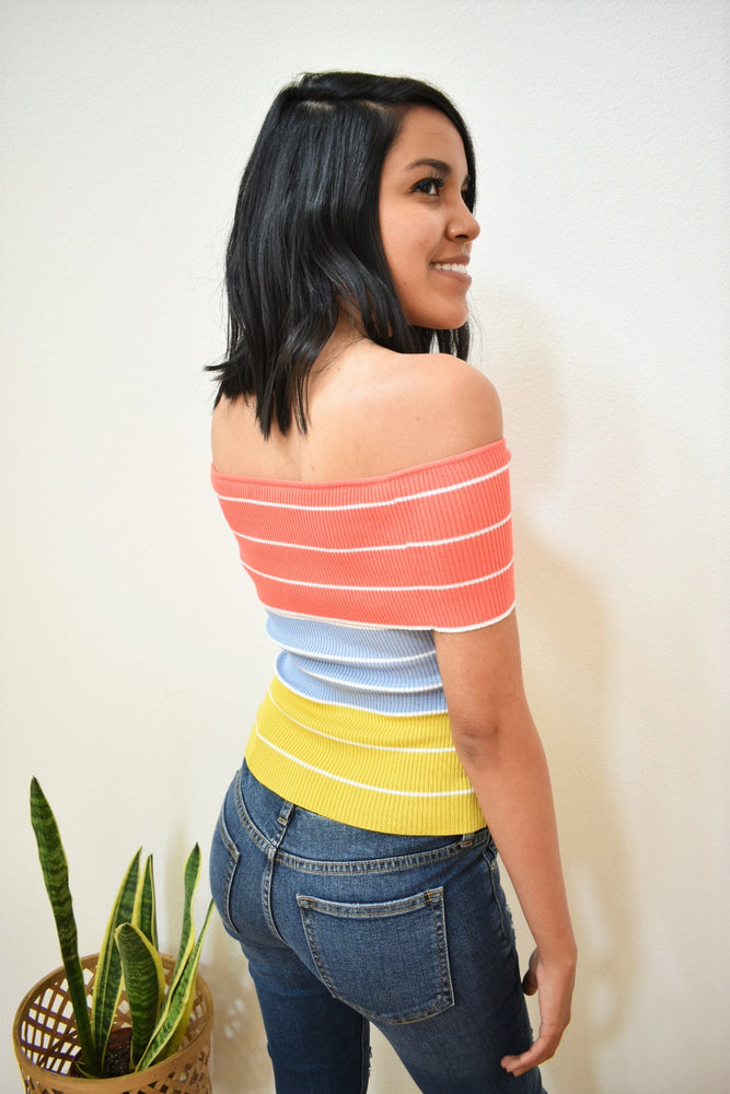 Off The Shoulder Color Block Top - Sweetly Striped