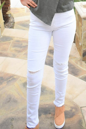 Distressed White Skinny Denim - Sweetly Striped