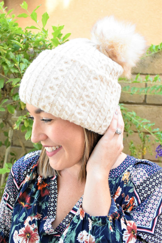 Versatile Cable Knit Beanie - Sweetly Striped