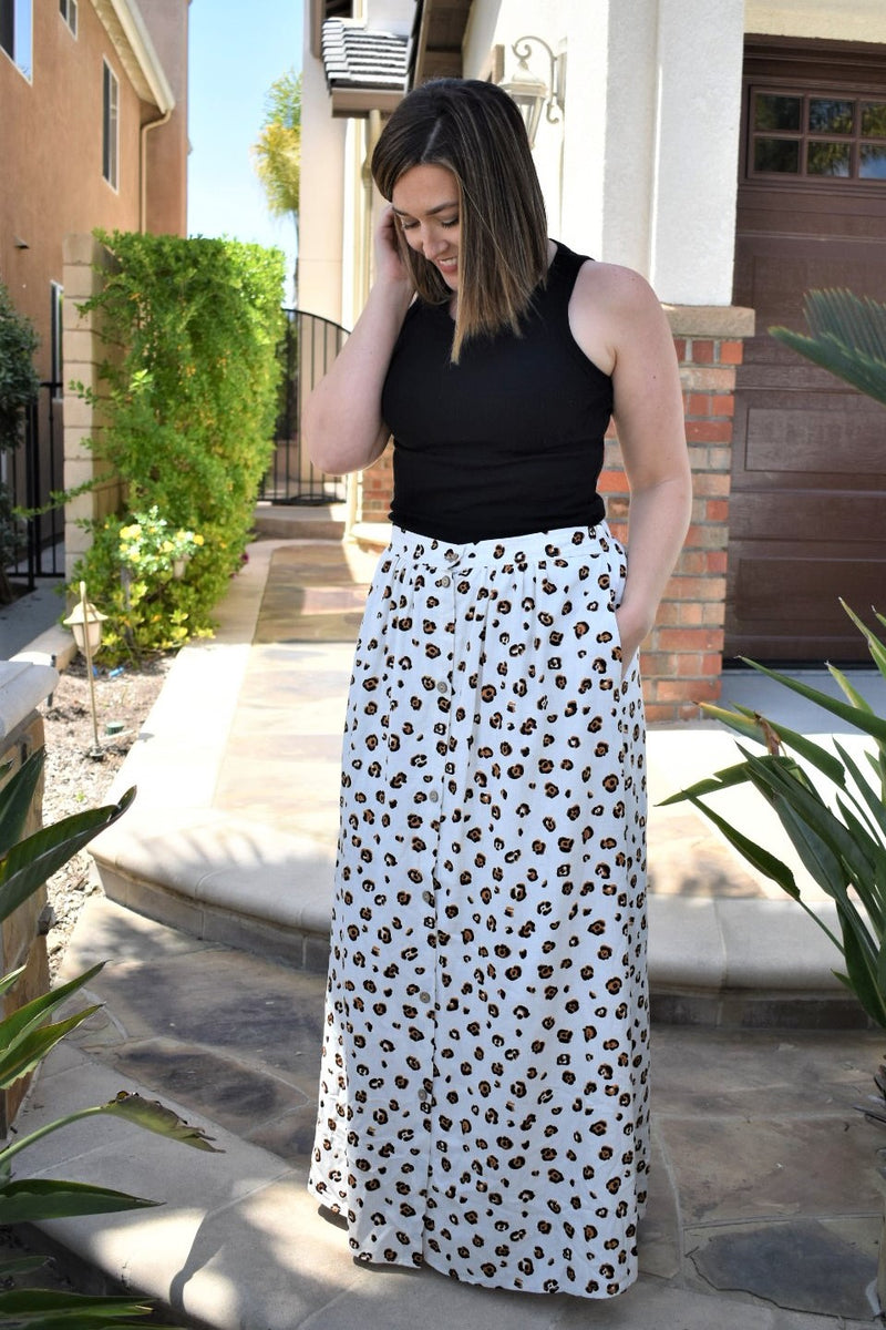 Leopard Maxi Skirt - Sweetly Striped