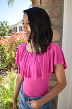 Off The Shoulder Body Suit - Fuchsia