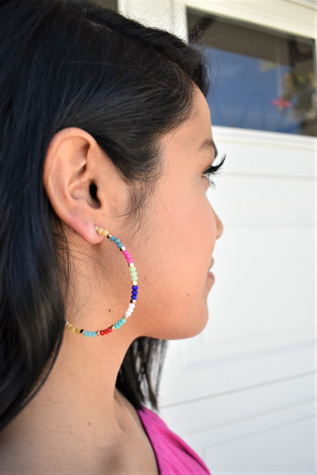 Multi-Color Beaded Hoops - Sweetly Striped